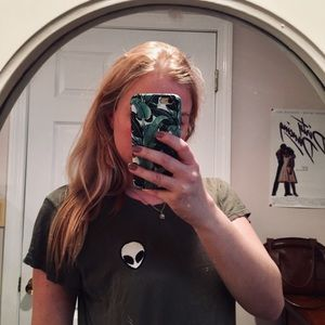 Brandy Melville Green Alien T Shirt
